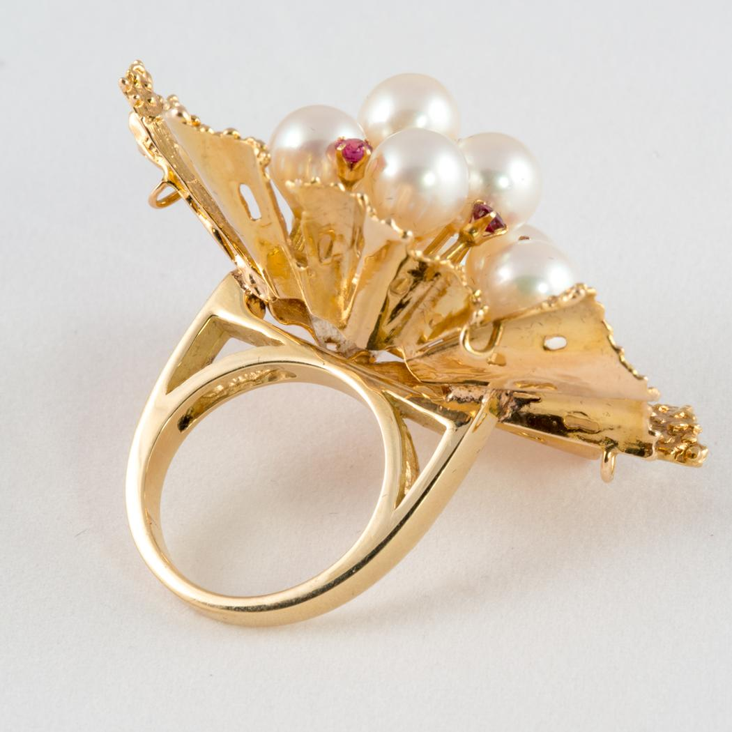 Gold Flower Ring with Rubies and Pearls